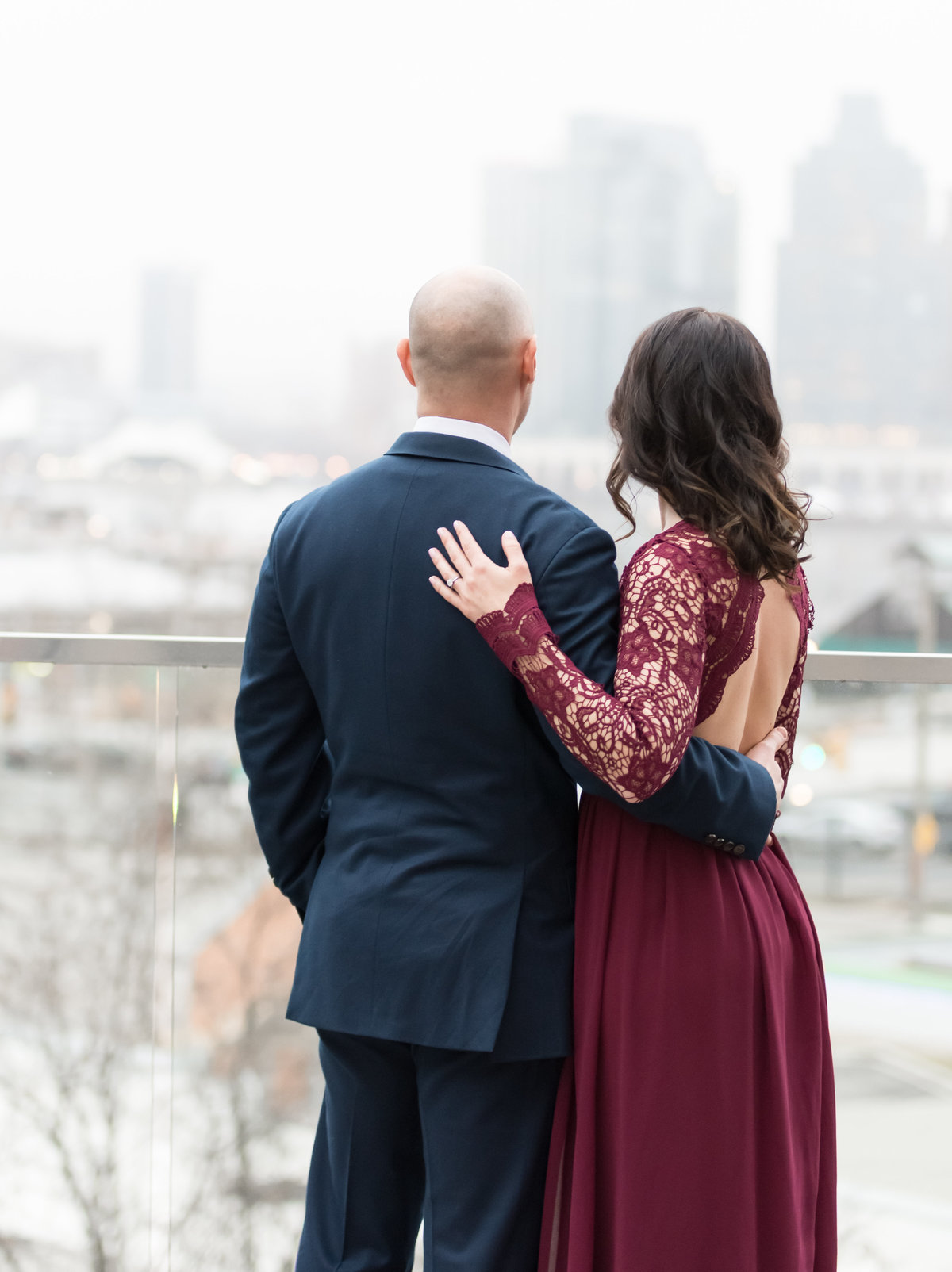 Adam and Jenelle overlooking Baltimore City during their engagement session