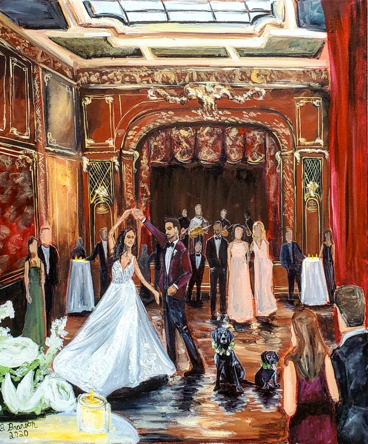 Live painting of a bride and groom sharing their first dance in the ballroom of the Engineers Club in Baltimore Maryland