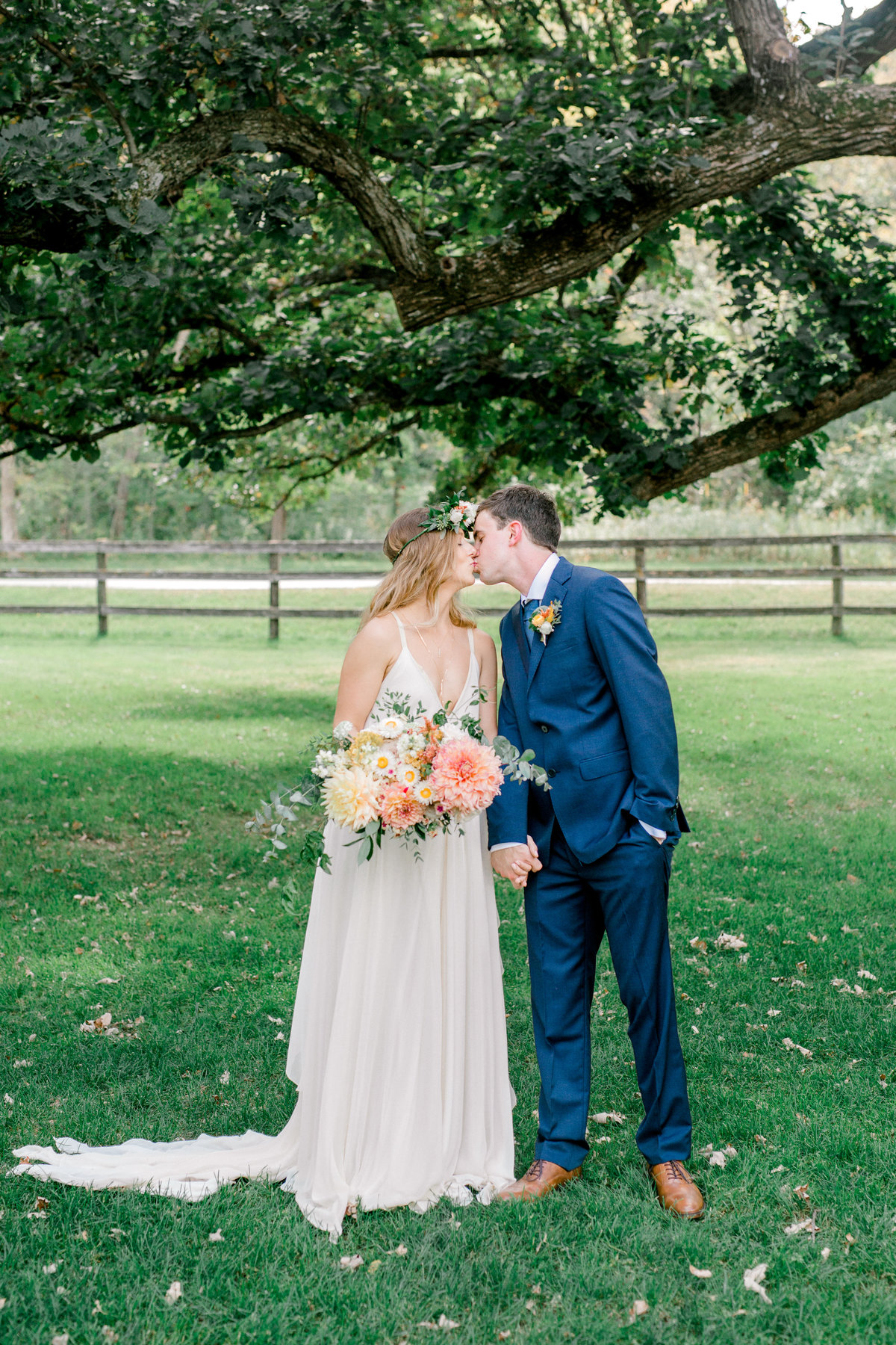 Fox and Fern Florals at Mayowood Stone Barn Bride in Carol Hannah Gown