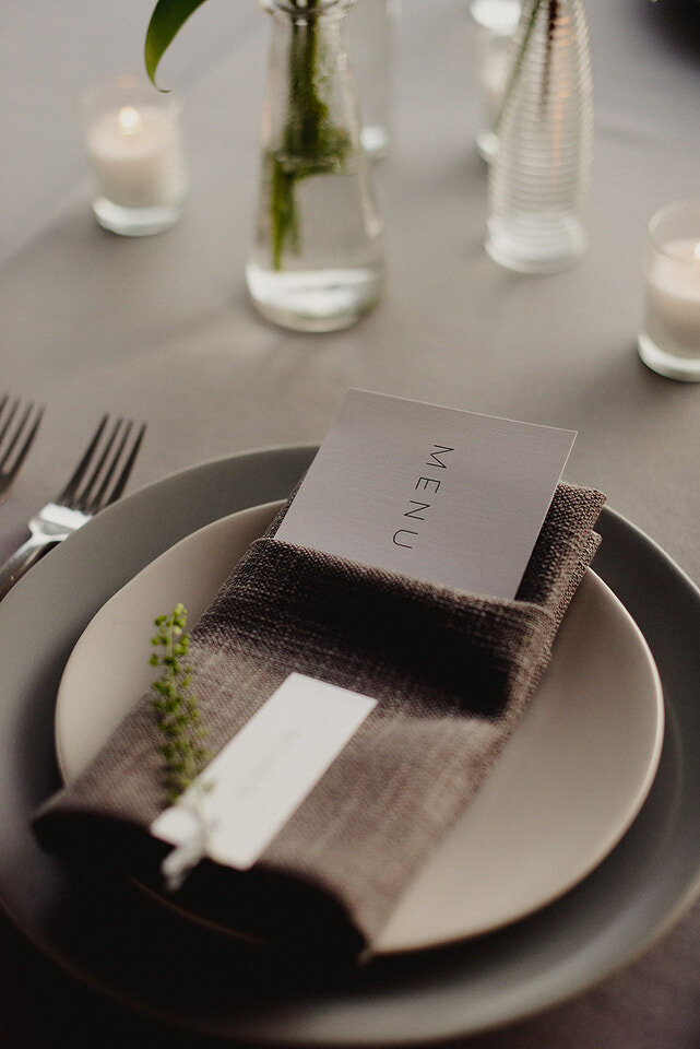 Grey Modern Place Settings Wedding Scribners Lodge Wedding Catskills Wedding Venue Wedding Planner New York Upstate Wedding Planner Canvas Weddings