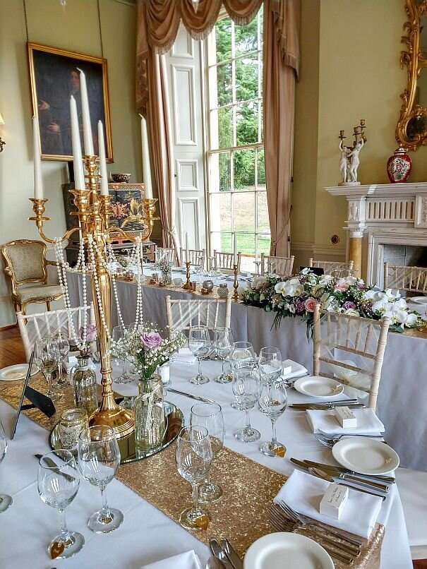 Gold candelabra sequin pearl wedding 17
