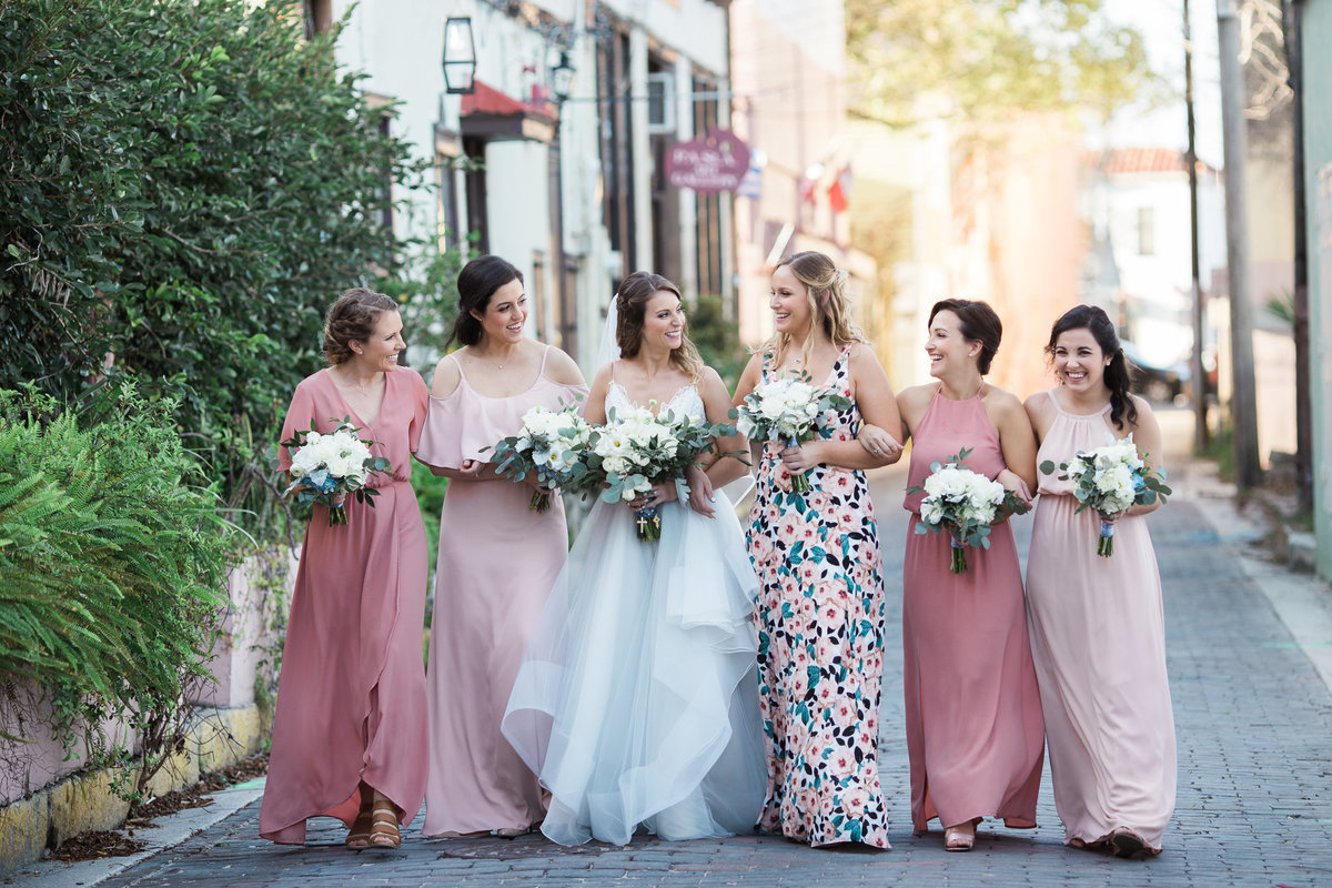Bride with her Bridesmaids at St Augustine Wedding
