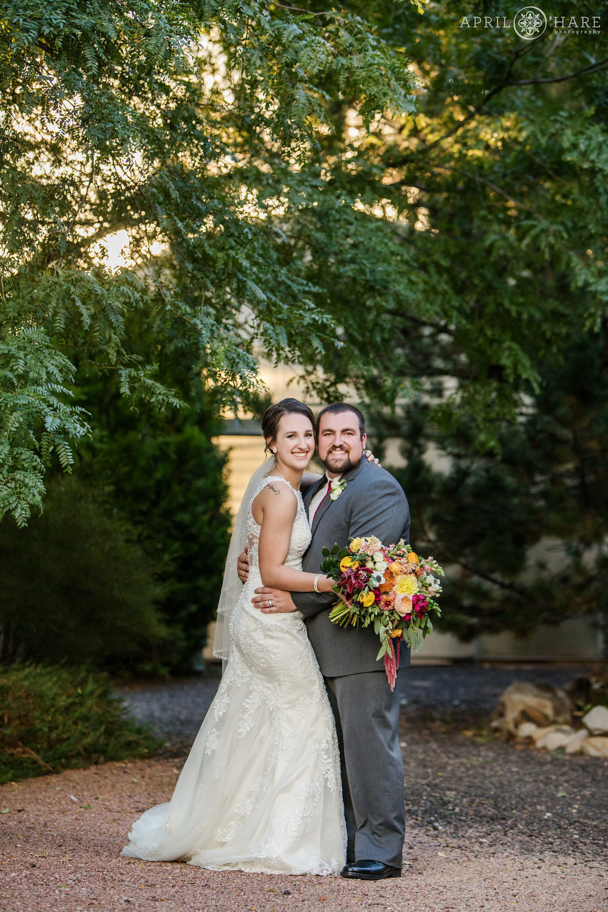 Pretty Bride and Groom Portrait at Sunset in Denver Colorado