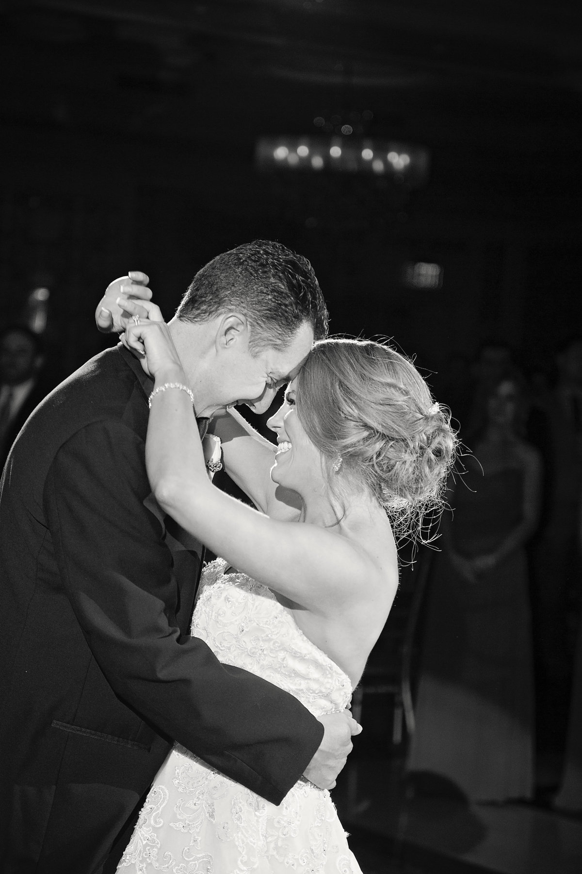 bride and groom dancing at addison park wedding