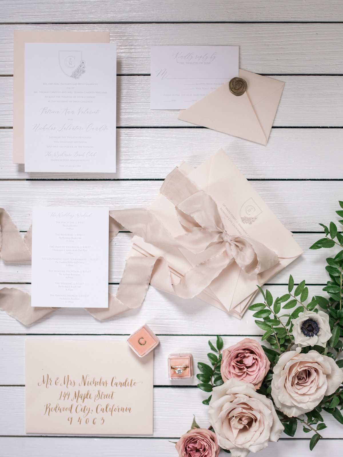 wedding stationery with blush ribbon
