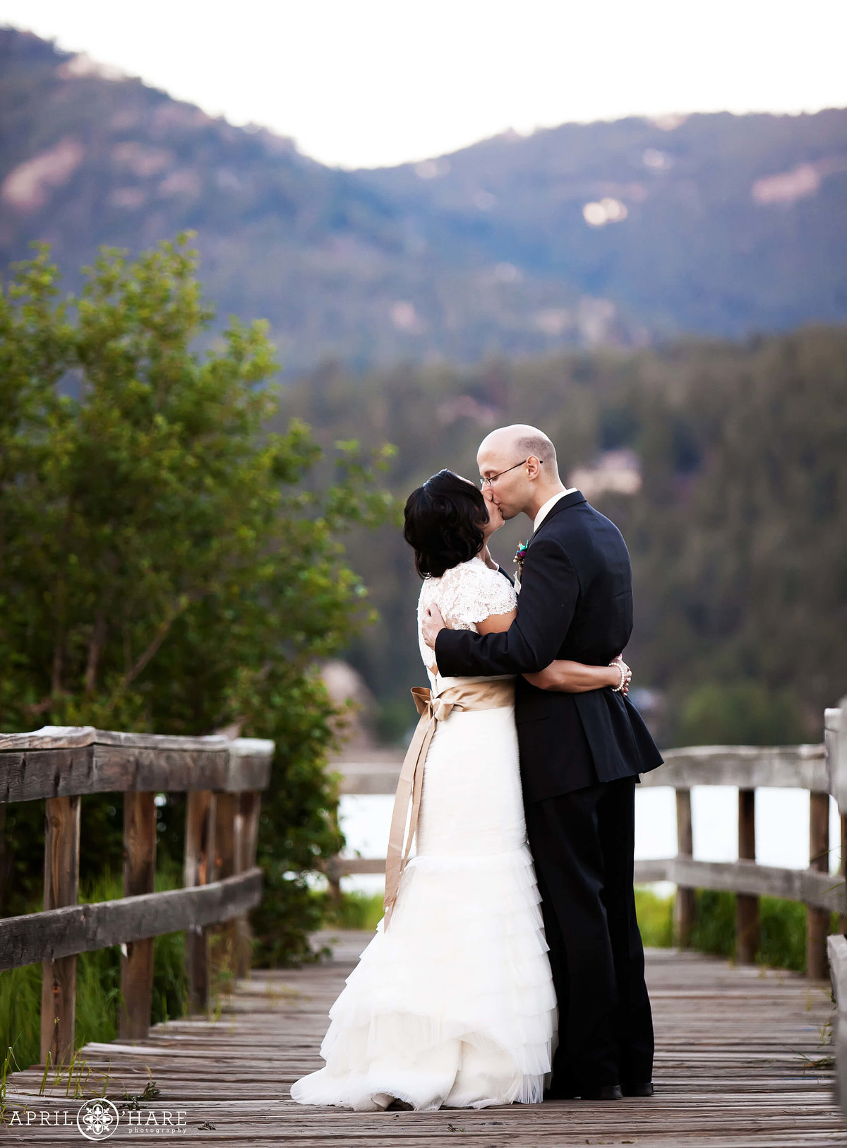 Colorado Mountain Wedding Photographer Boardwalk at Evergreen Lake House