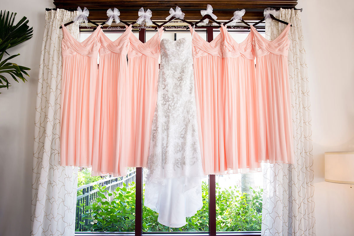 dresses hanging wedding photo