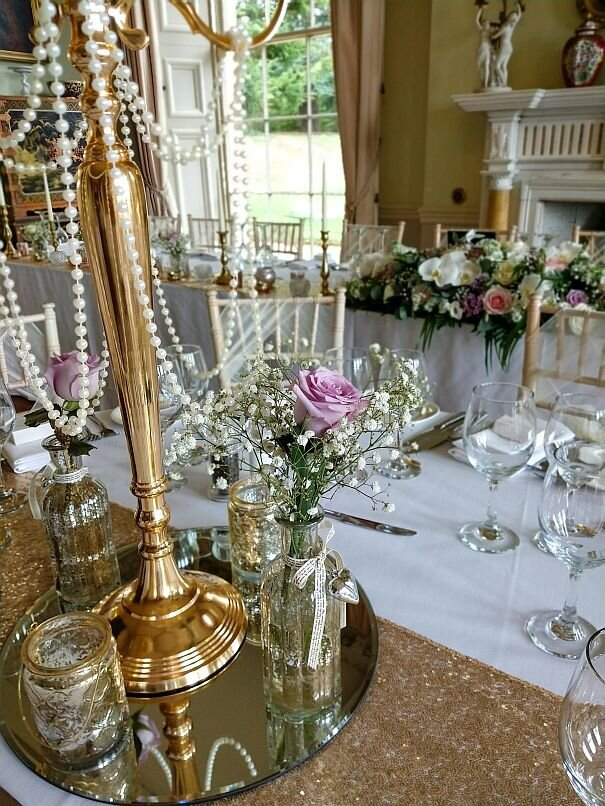 Gold candelabra sequin pearl wedding 9