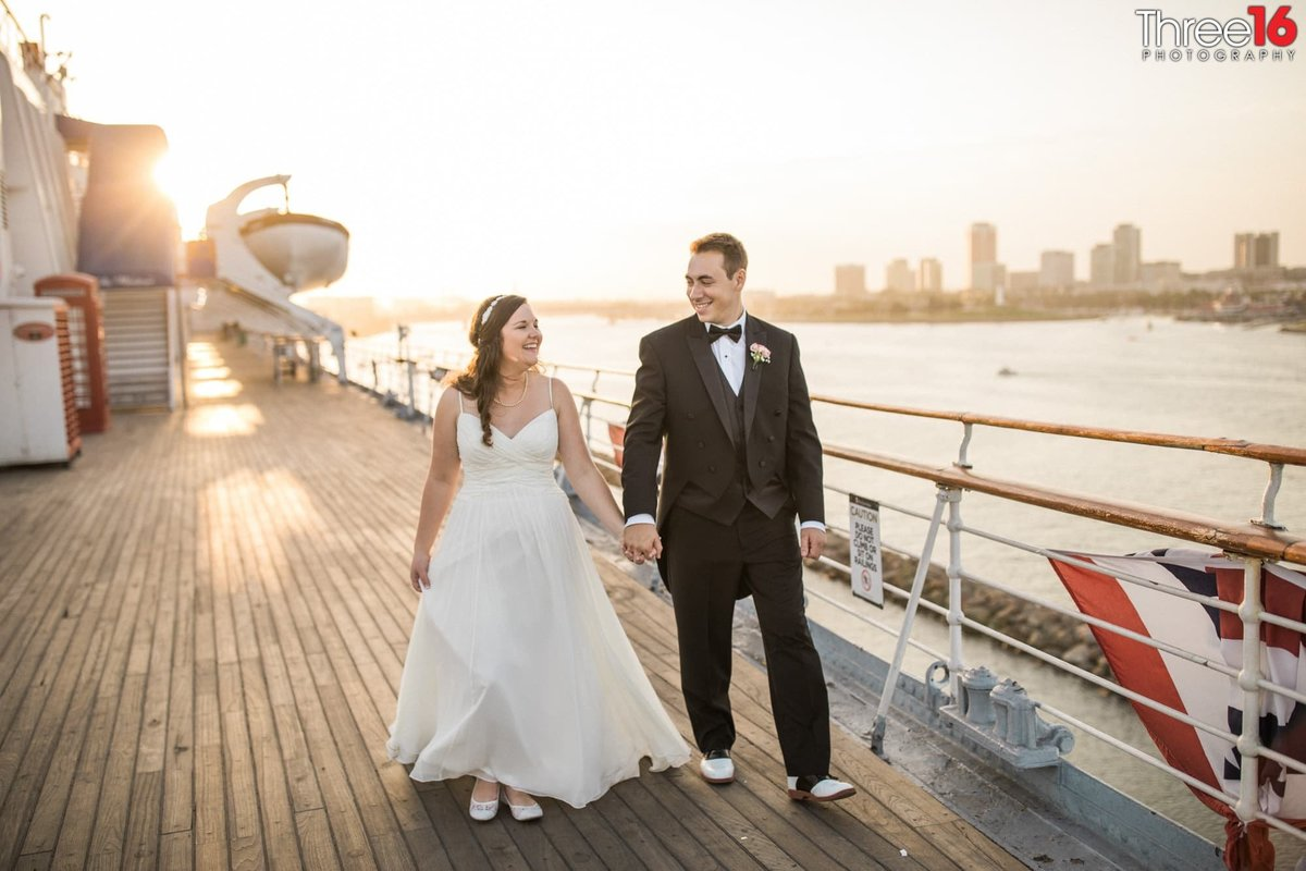 Bride and Groom go for a walk aboard the Queen Mary in Long Beach