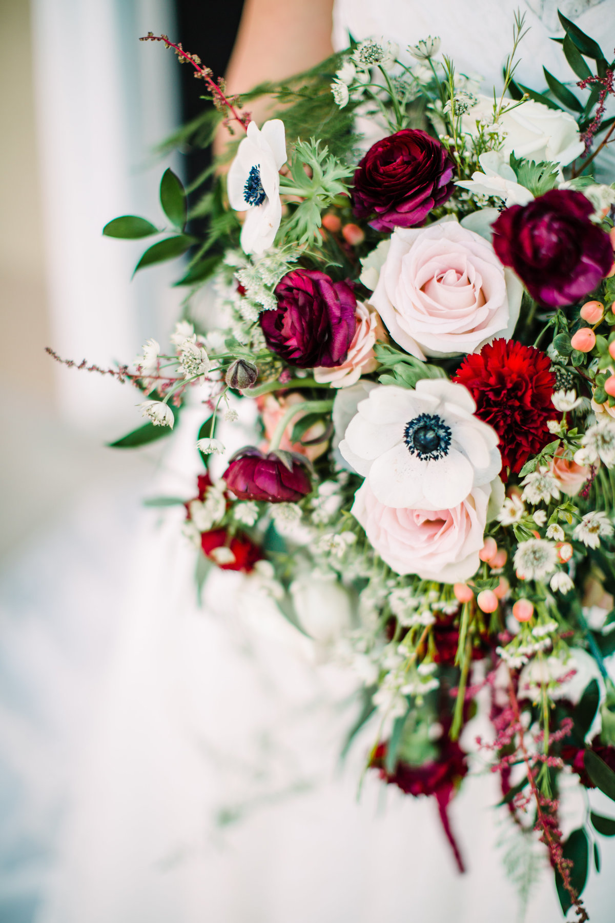white, maroon and blush wedding bouquet