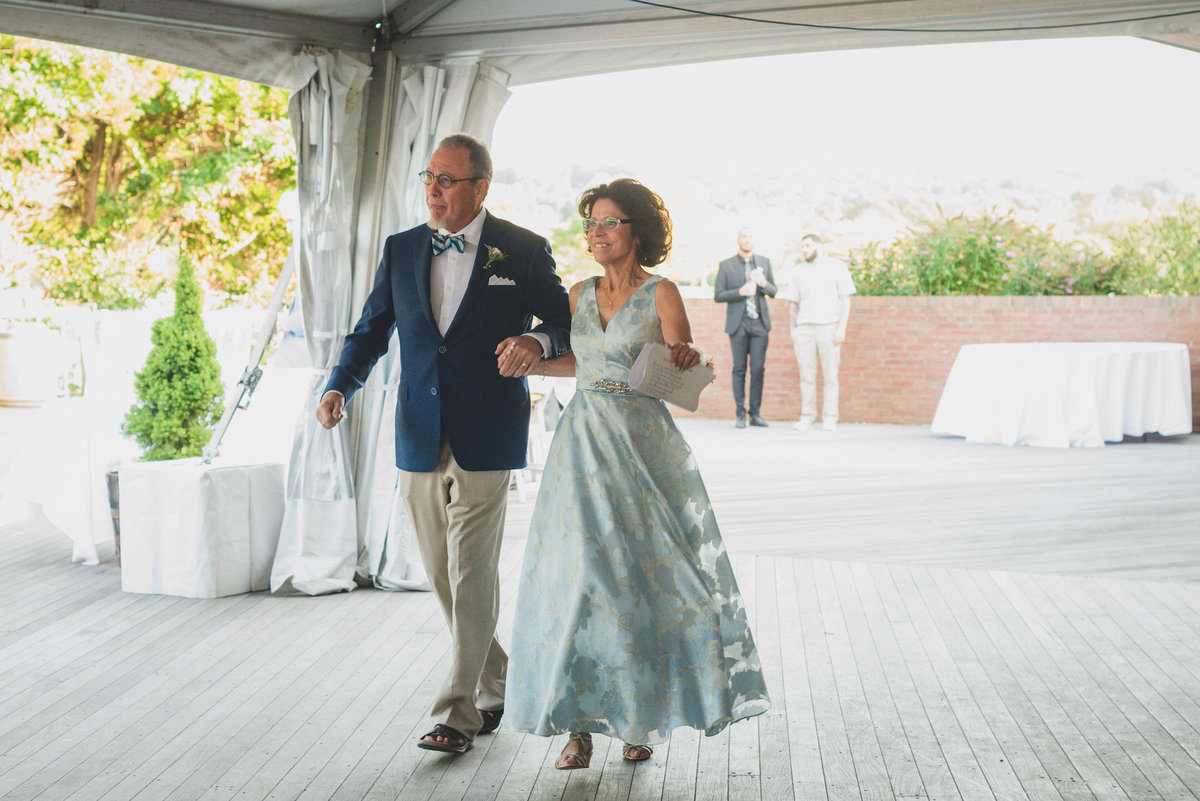 photo of mom and down at beach wedding reception at Pavilion at Sunken Meadow