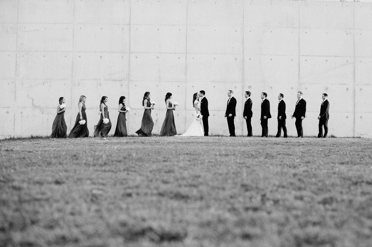 Creative and unique black and white bridal partty photo in Liberty State Park