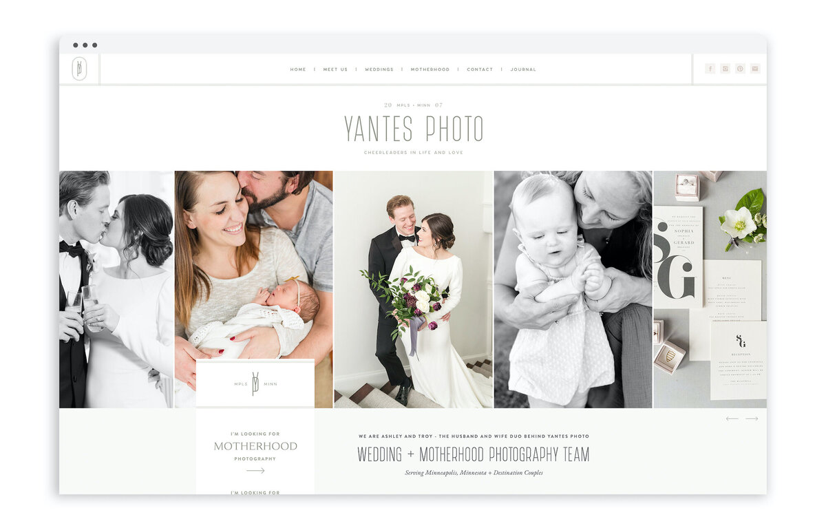 Yantes Photo - Custom Brand Logo and Showit Web Website Design for Photographers - With Grace and Gold - 4