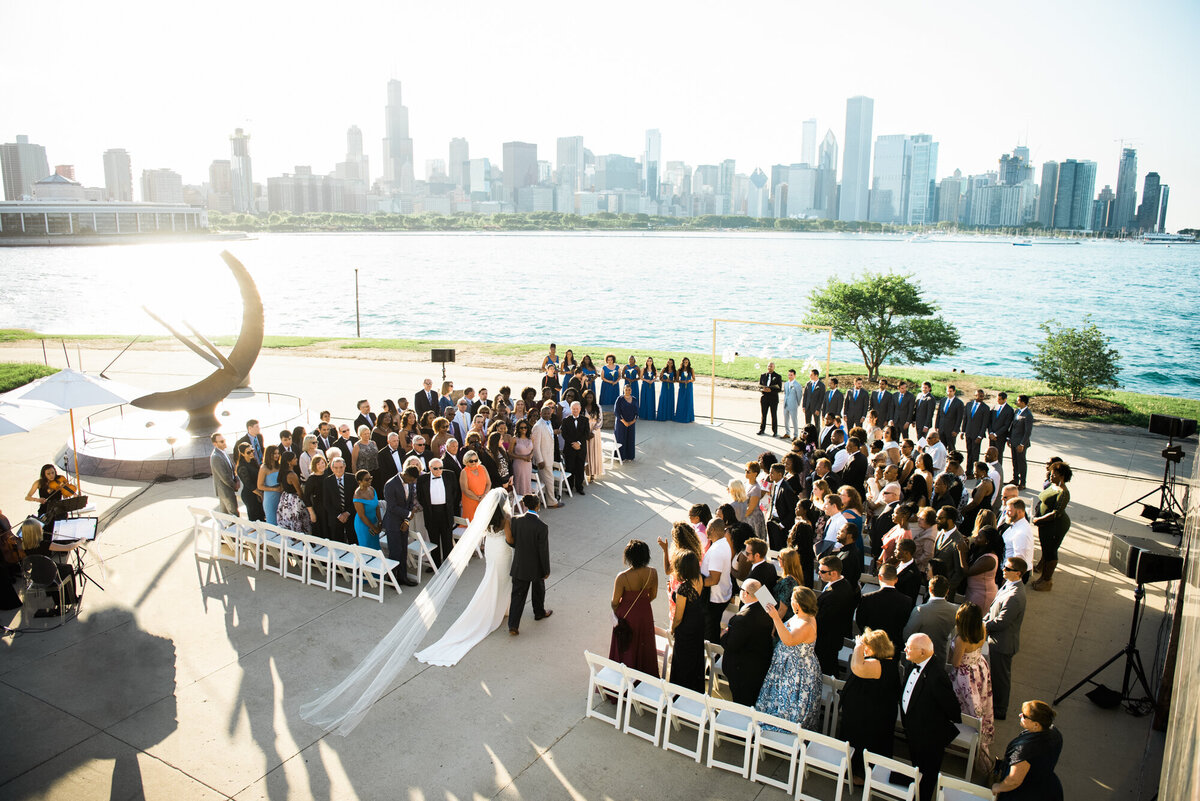 Overview of Chicago wedding ceremony and skyline
