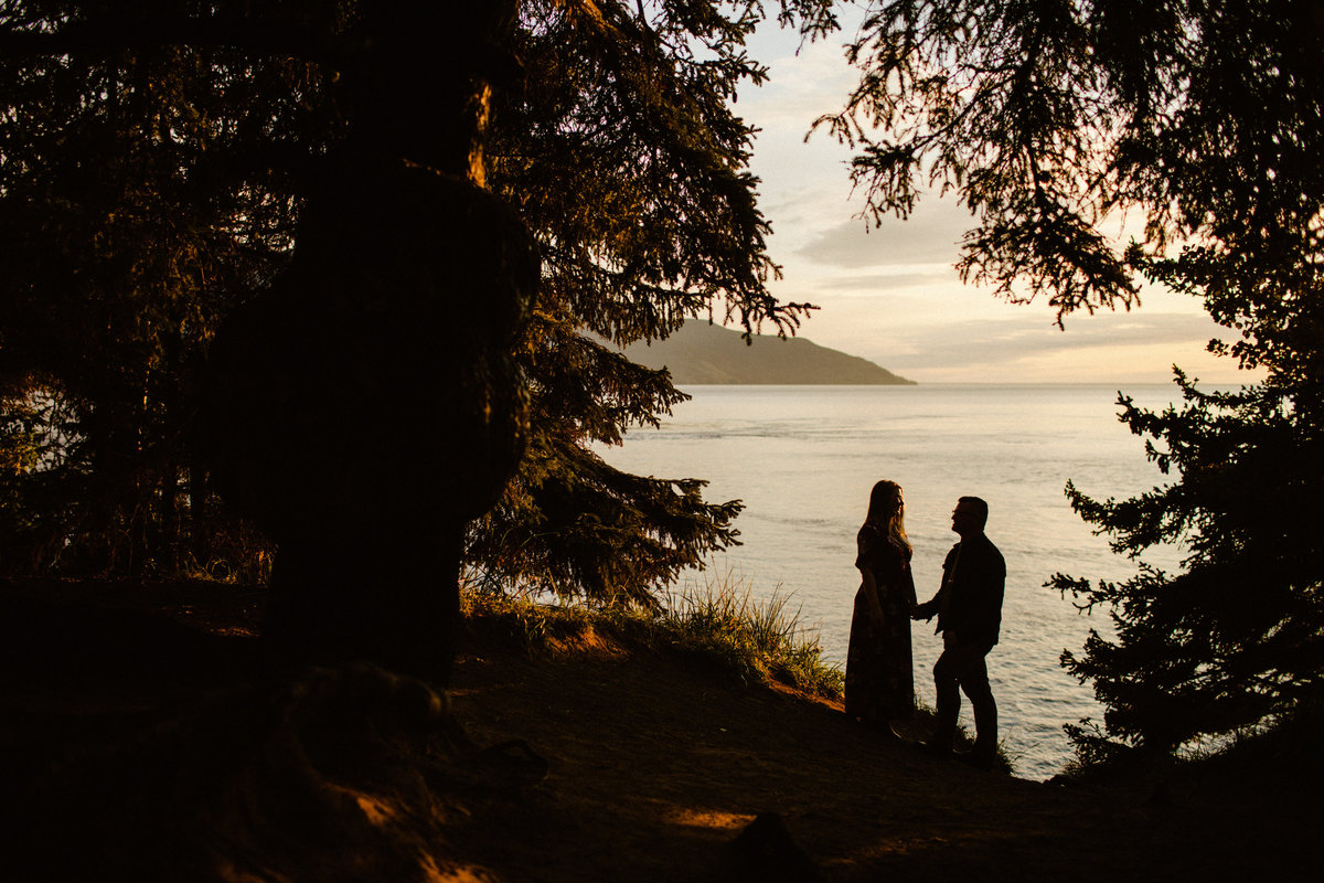 silhouetted couple surrounded by trees at beluga point