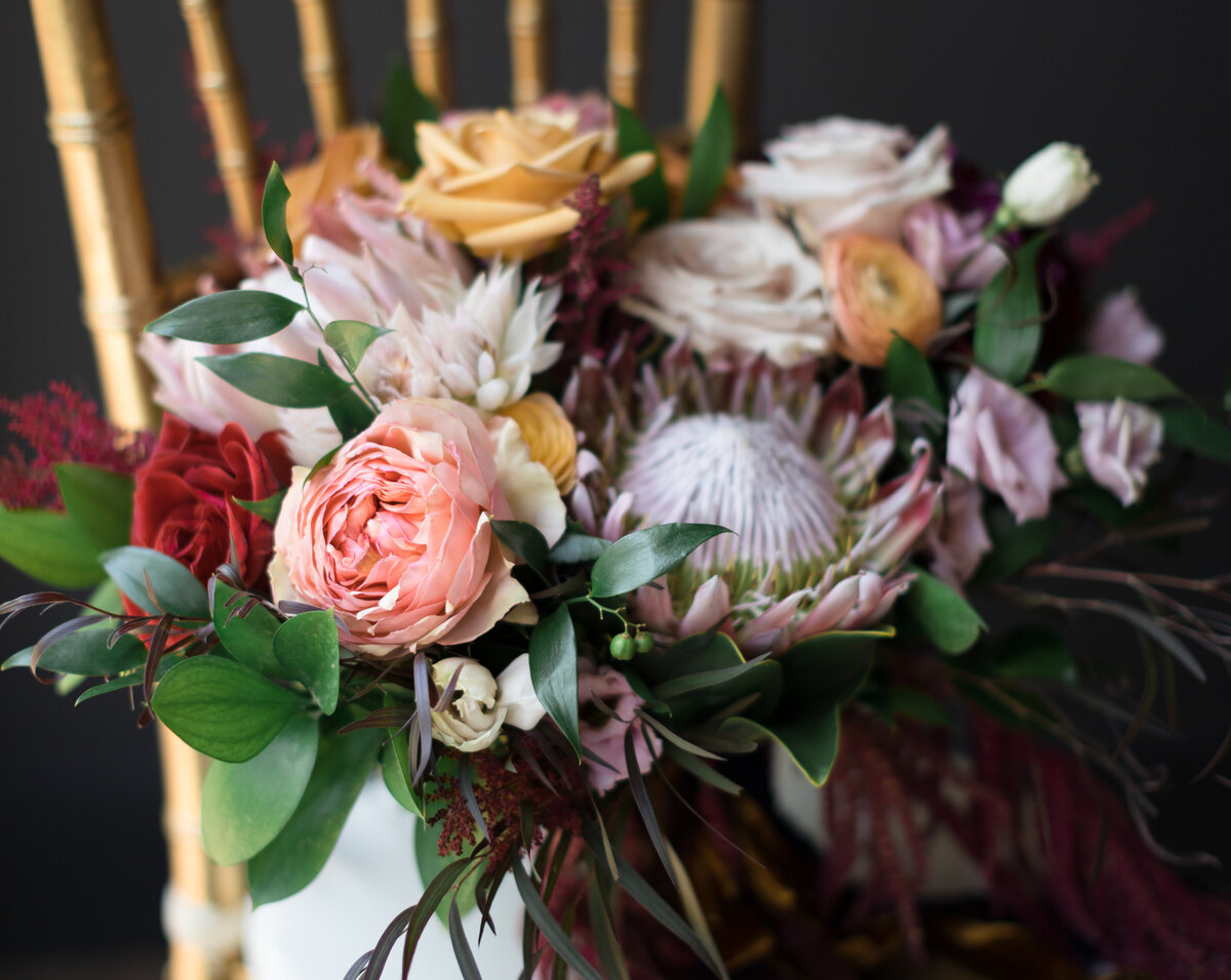 Wedding bouquet with king protea