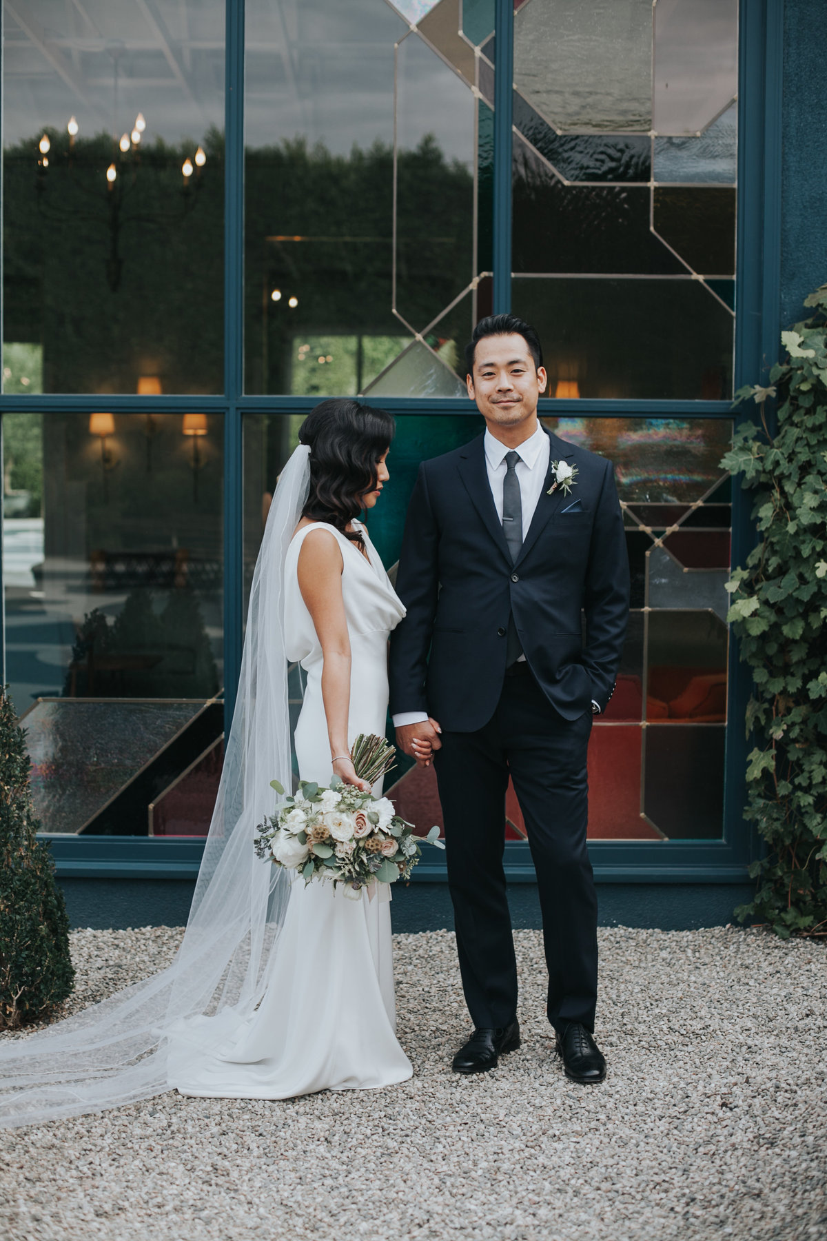 Modern bride and groom wedding portrait at The Fig House