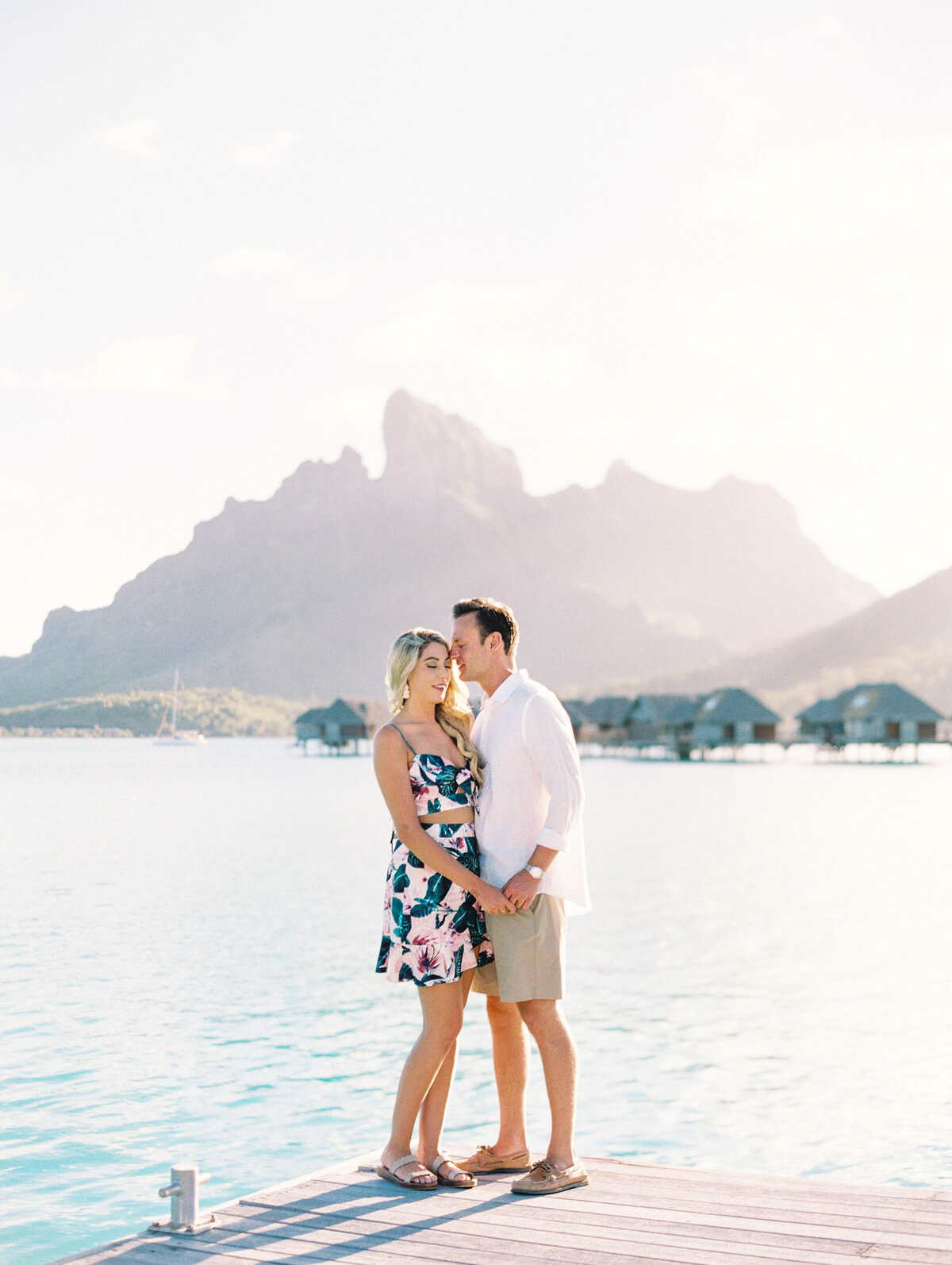 Couple soft colors Bora Bora Sunset love smile elegant dress