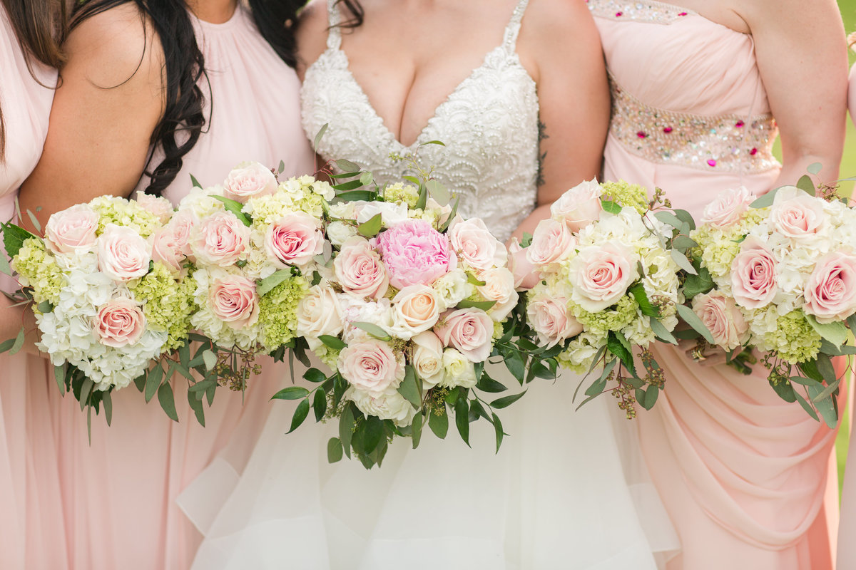Pink and white roses summer wedding bouquet