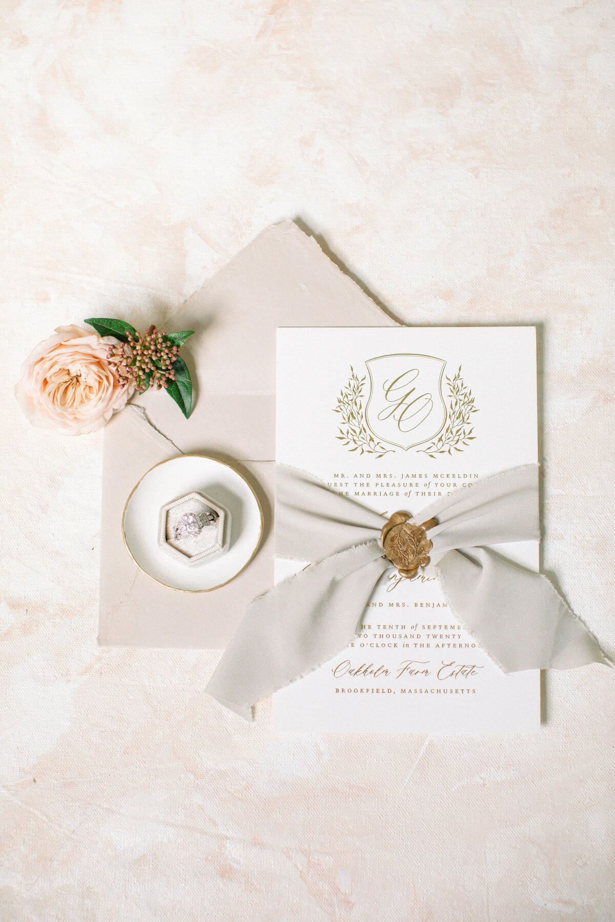 Gold and Taupe Wedding Invitations - Monogram Crest Custom Stationery