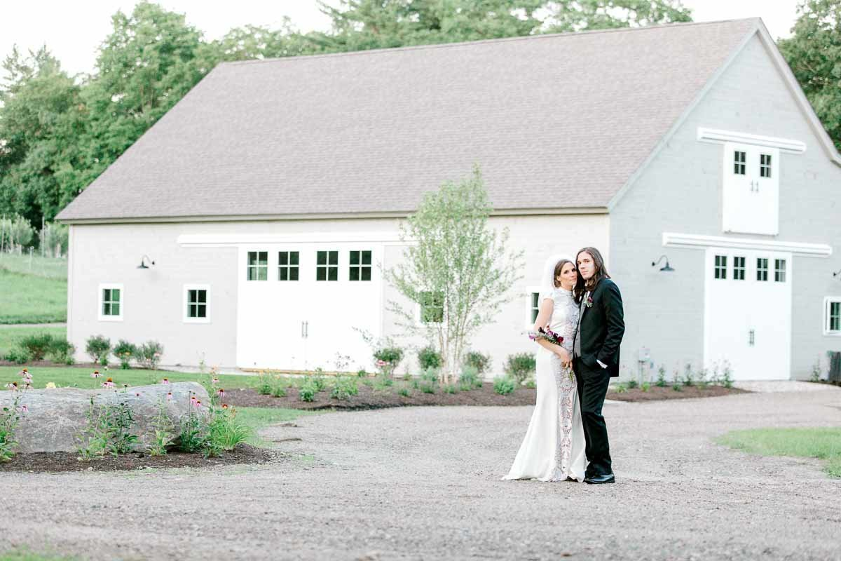 Bright and Airy photo of a bride and groom taken at Mayfair Farms in Harrisville NH.  Photo by K. Lenox Photography