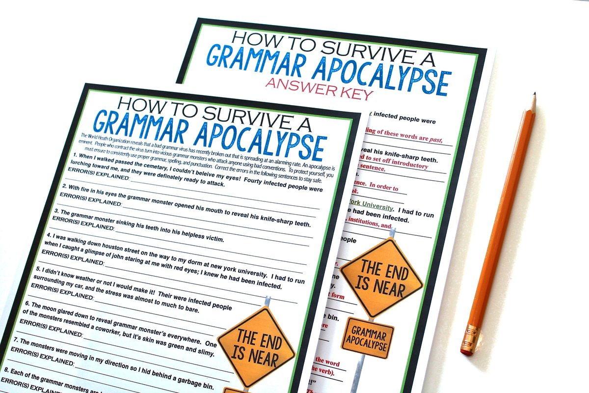 Grammar assignment where students have to save the word from a zombie apocalypse by correcting and editing grammar errors.