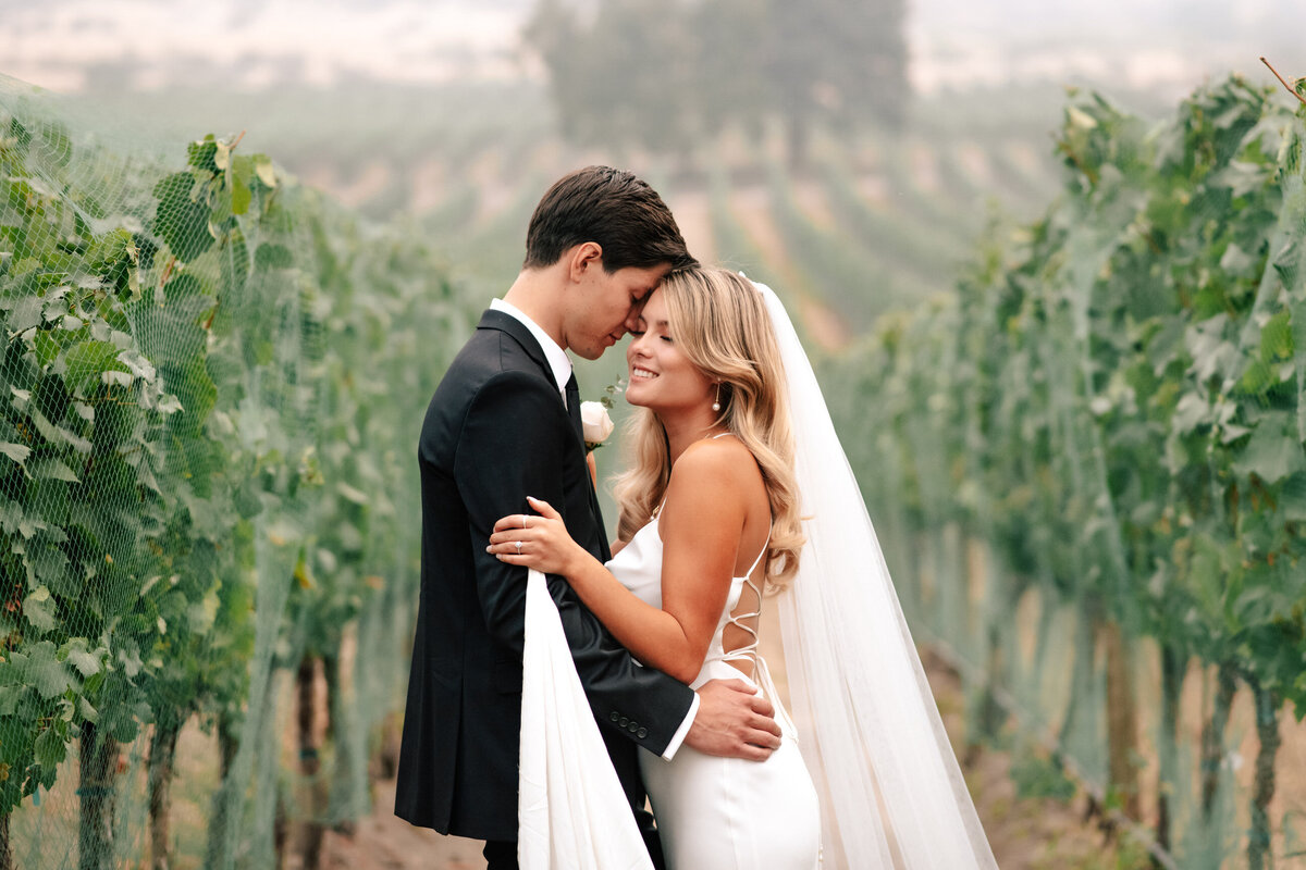 Portrait of bride and groom in the vineyard at Lake Chelan winery wedding at Tsillan Cellars