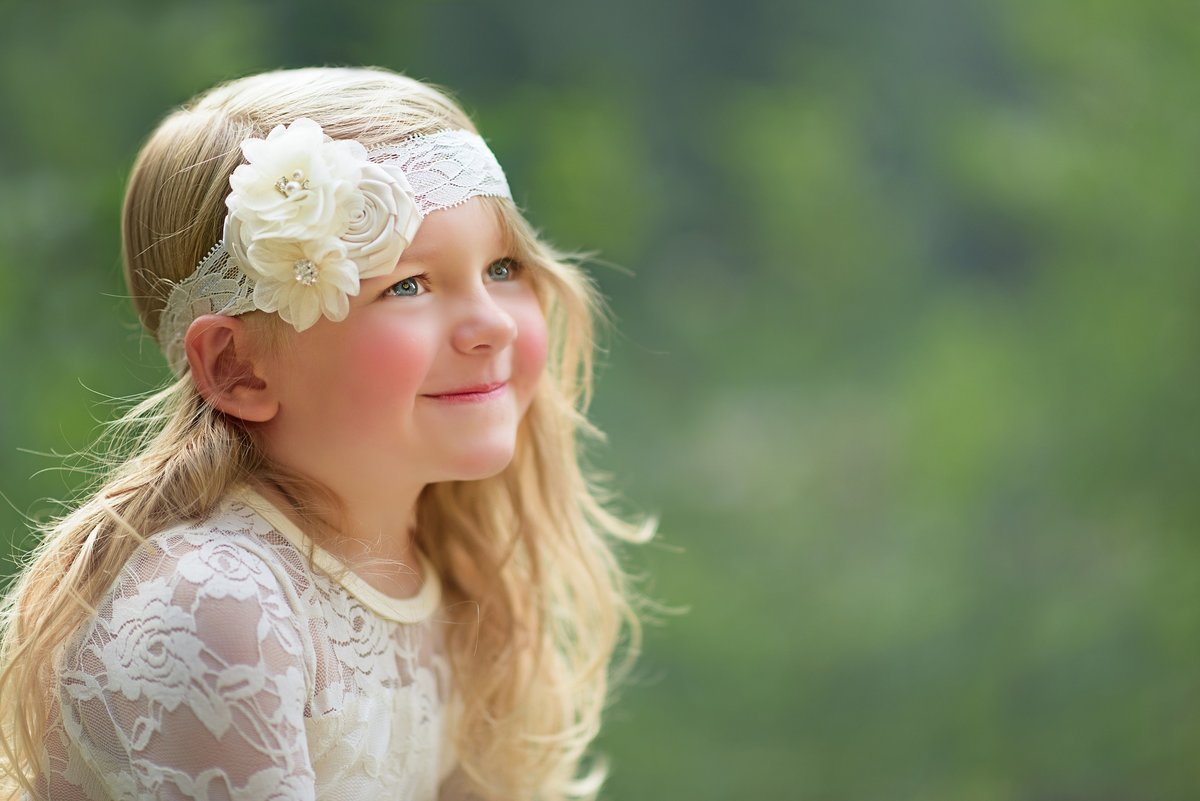 Portrait of a young girl in lace dress in Roslyn Washington