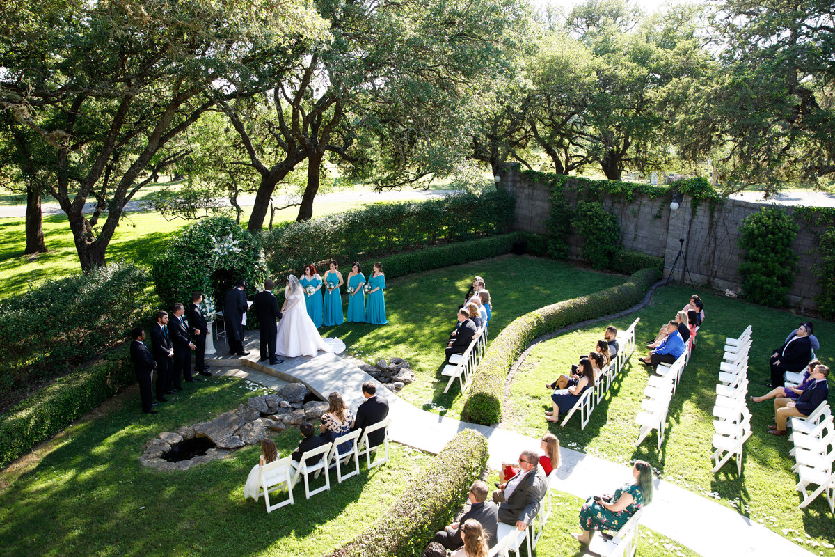 Austin wedding photographer castle avalon wedding photographer ceremony wide angle
