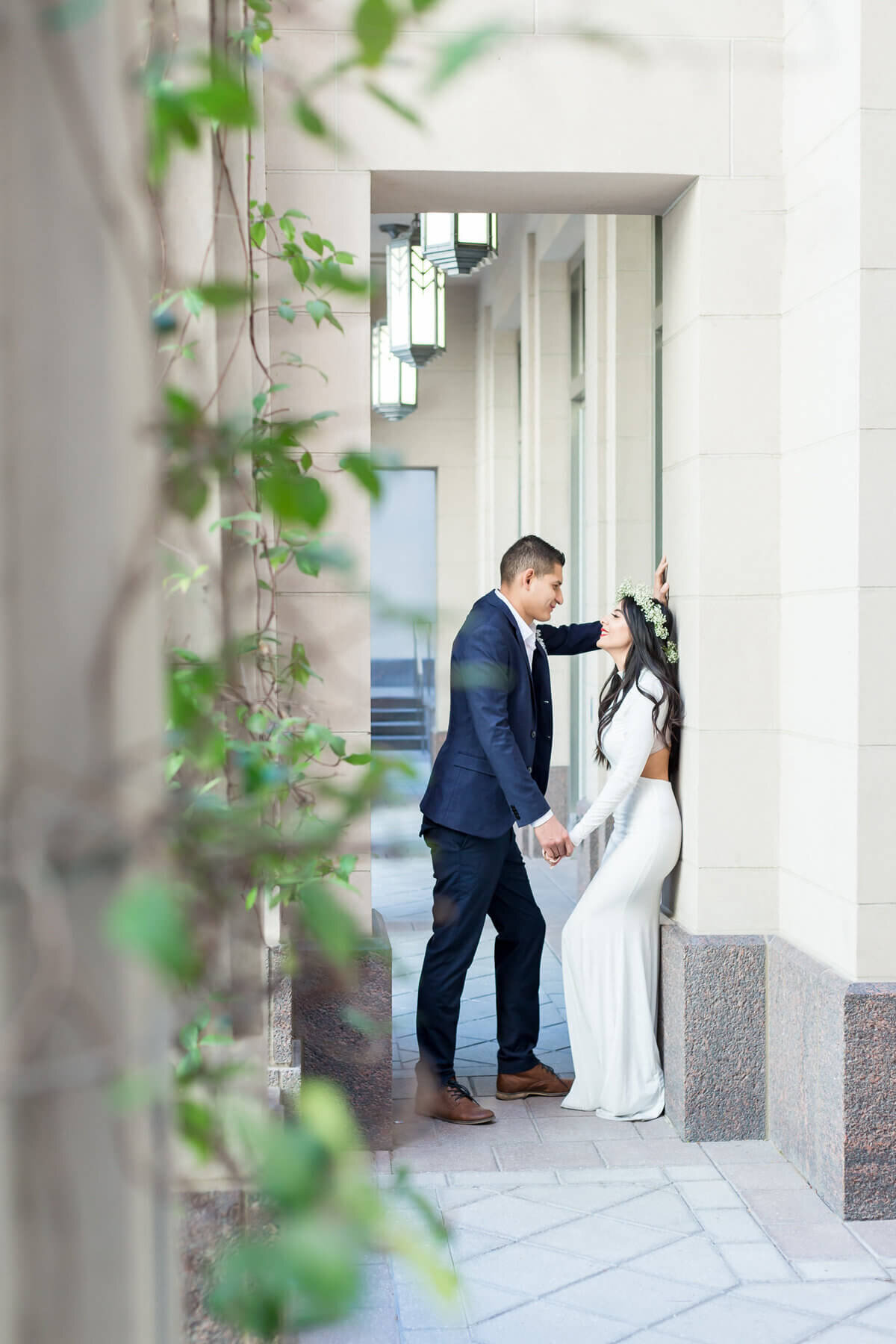Bride and Groom at the Smiths Center Downtown Las Vegas