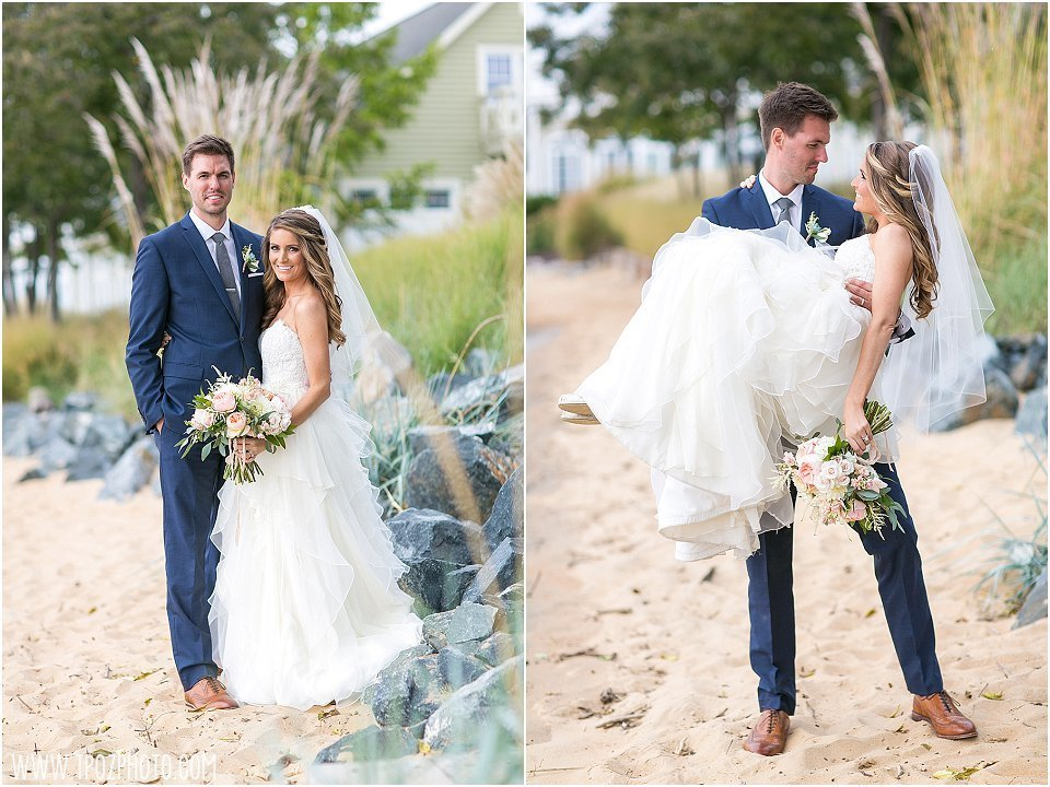 Chesapeake Bay Beach Club Wedding Portraits || tPoz Photography