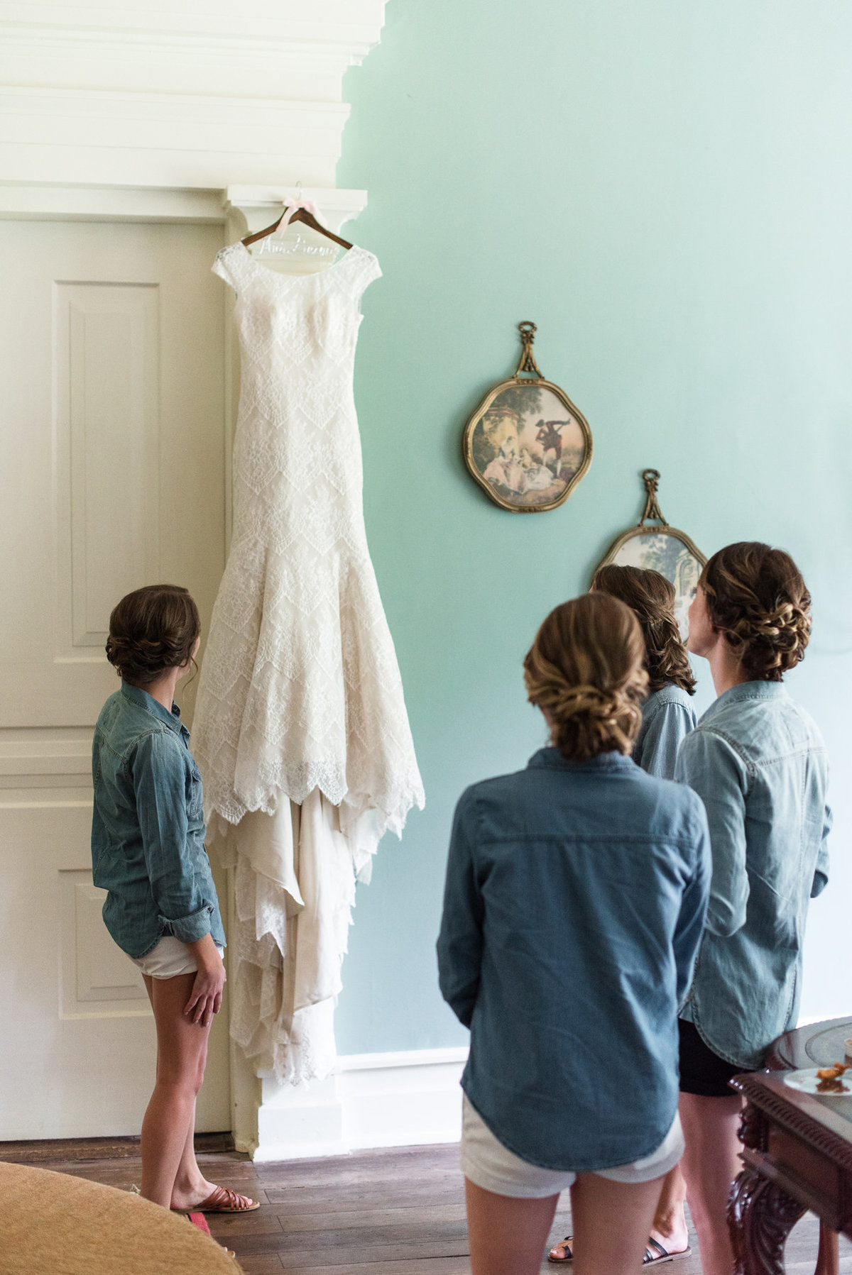 cedar hall wedding photo dress hanging