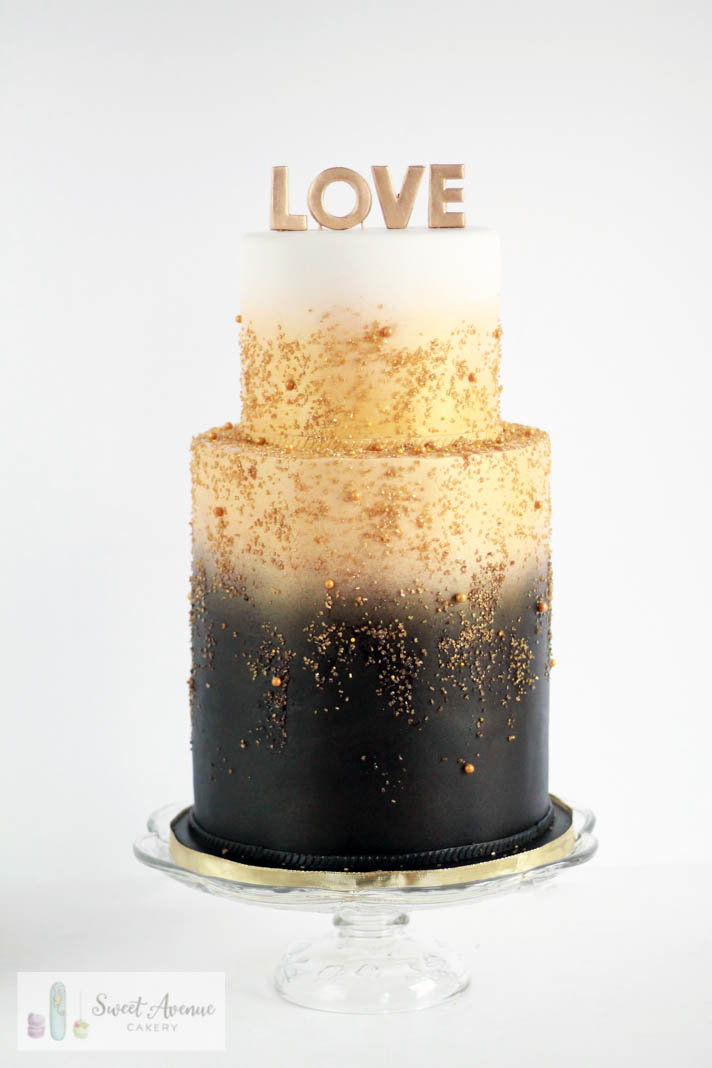 white, gold and black airbrush double barrel wedding cake, wedding cakes Hamilton ON