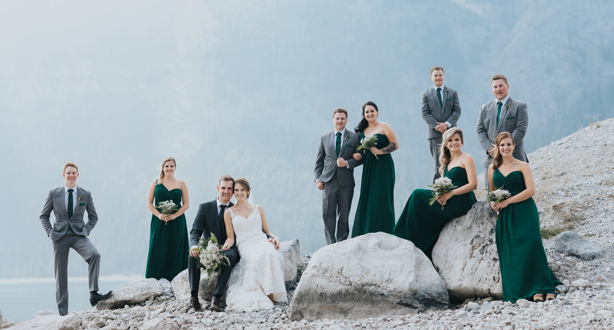 wildfire wedding kananaskis wedding party portraits