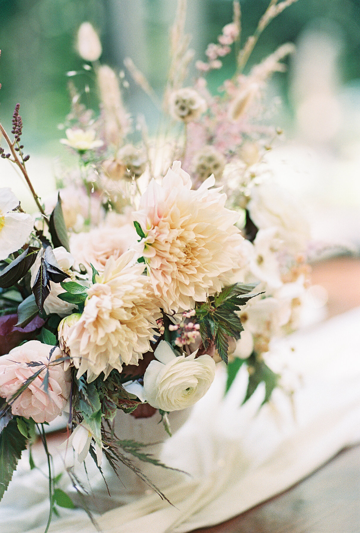 Bouquet with white and pale pink flowers Floral Designs by May Old Souls Vintage Rentals Butler Mansion | Pittsburgh Wedding Photographer | Anna Laero