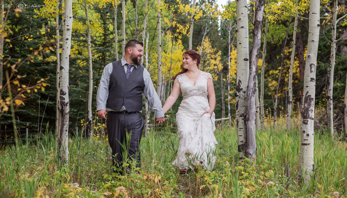 Colorado Wedding Photography with Aspen Trees Meyer Ranch Park Conifer CO