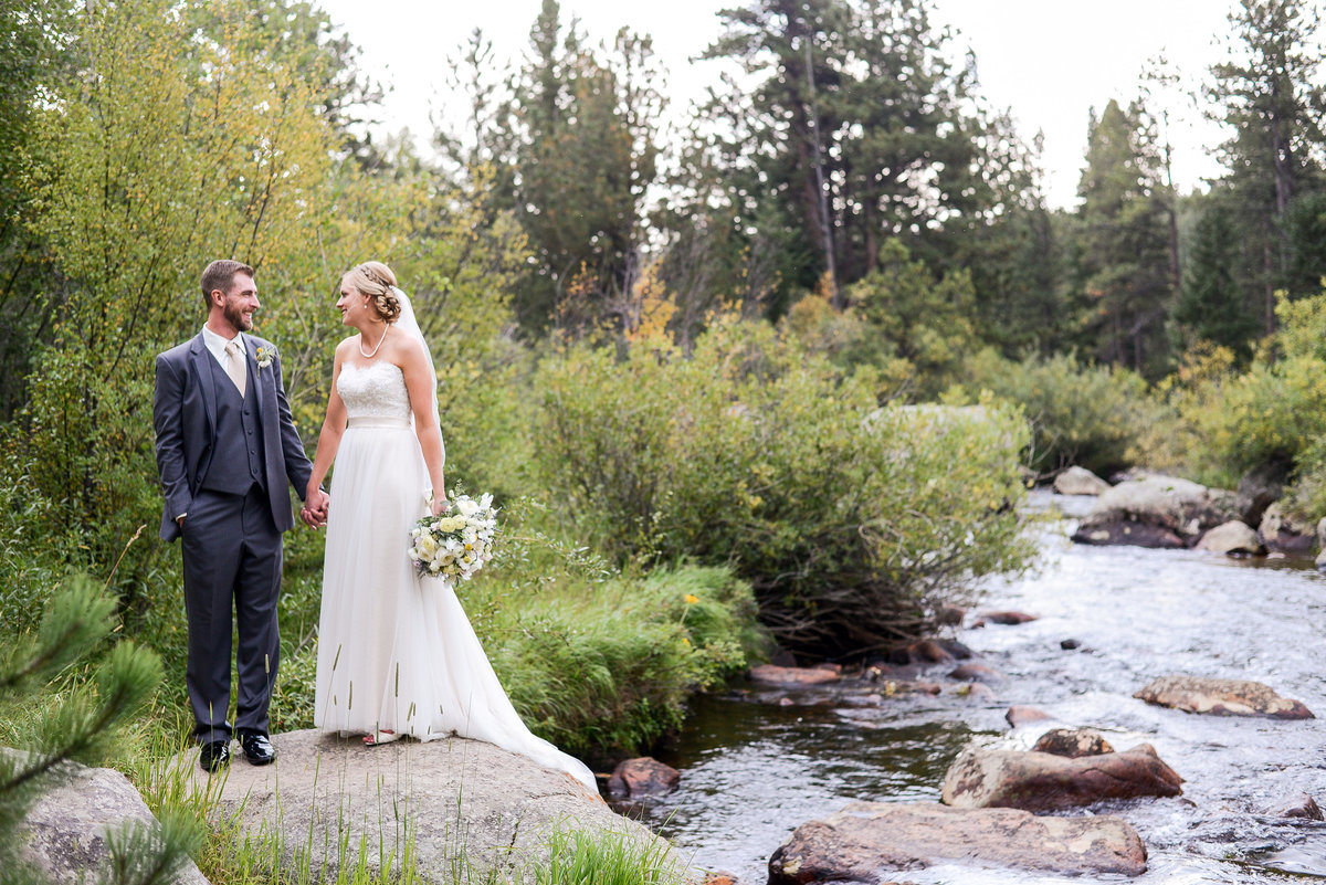 Bride and groom near Colorado river, Estes Park Photography