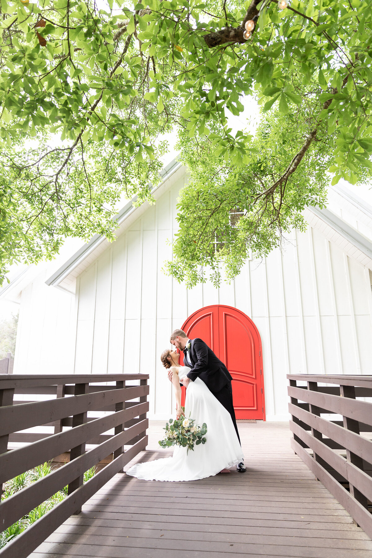 Bride and Groom Classic Dip Portrait at The Carriage House