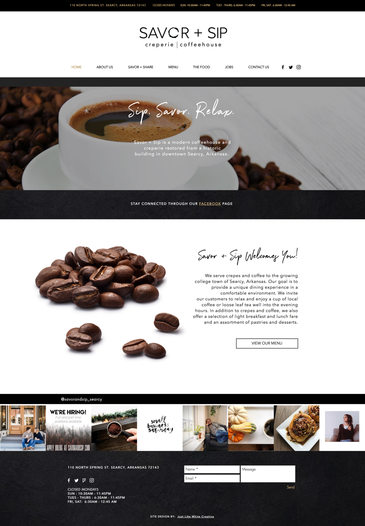 Coffee and cafe website design