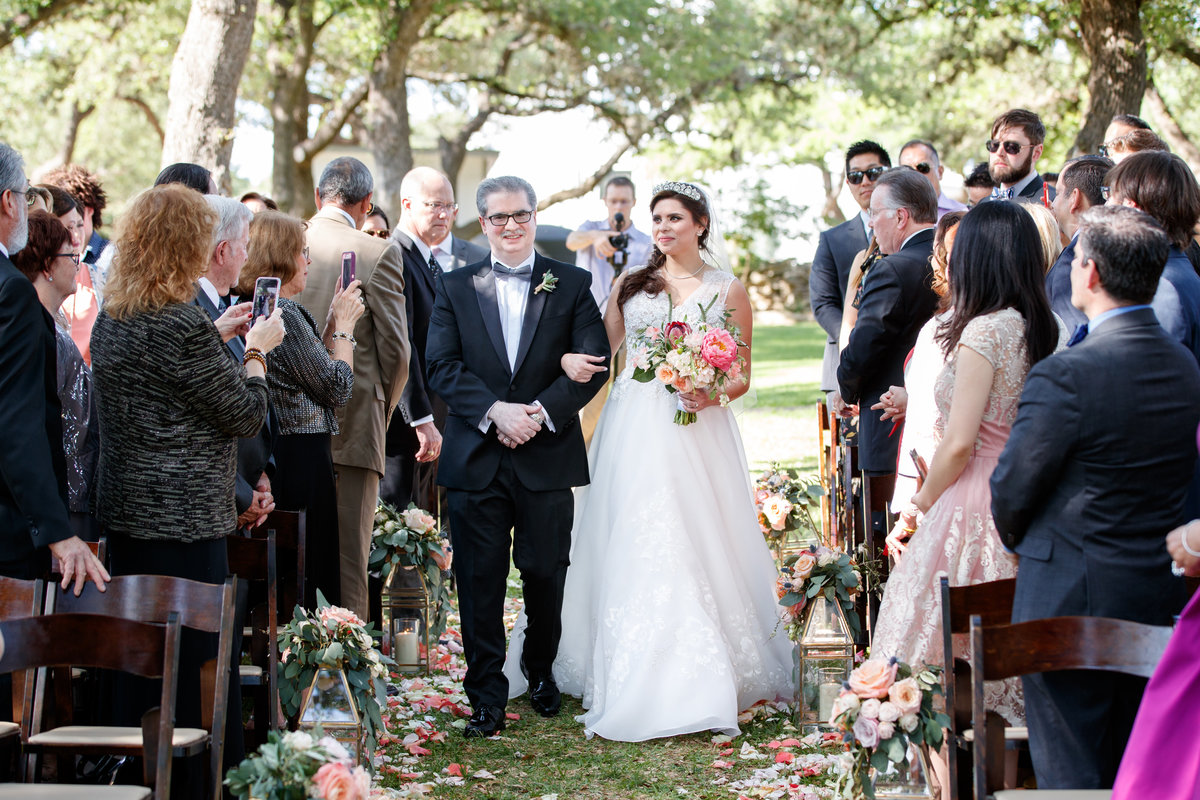 Austin wedding photographer addison grove wedding photographer bride walking down aisle