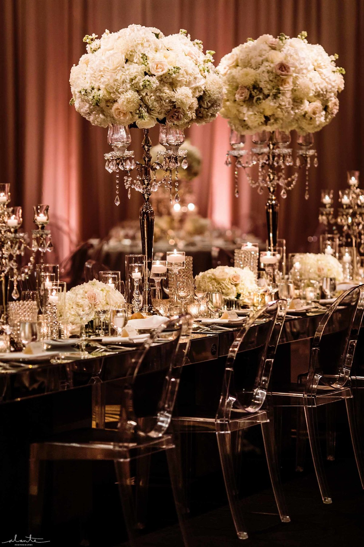 Luxurious ballroom wedding mirrored head table