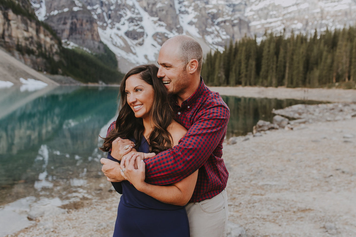 engagement session at Moraine lake by the best Banff photographer