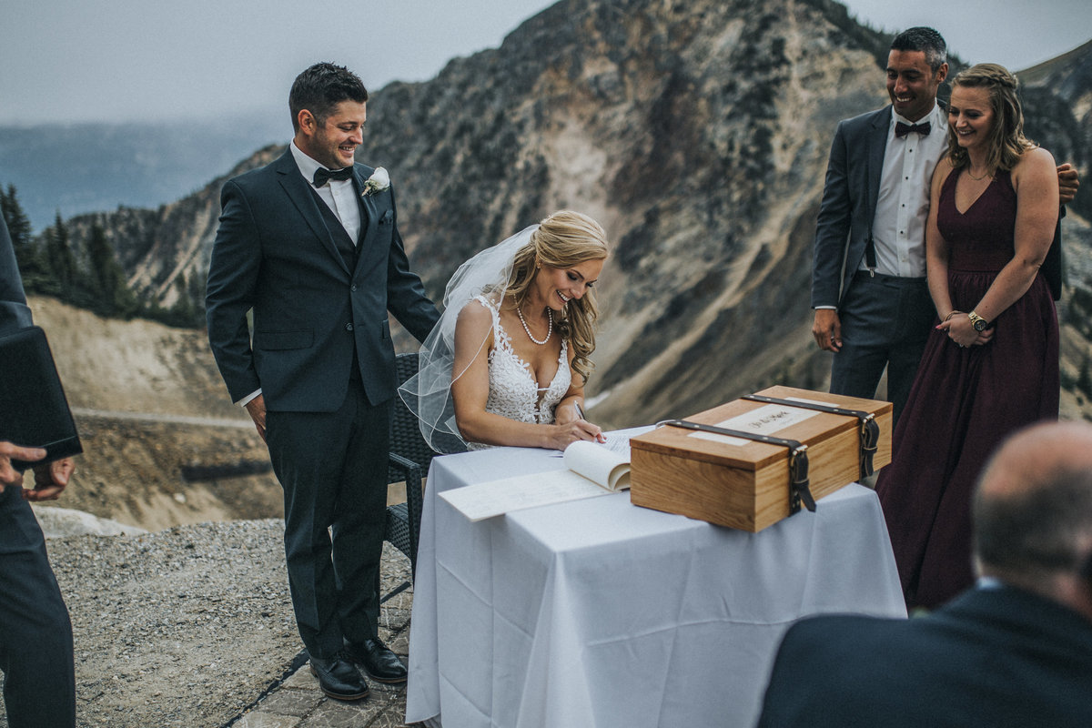 Kicking Horse wedding ceremony at the top of the mountain