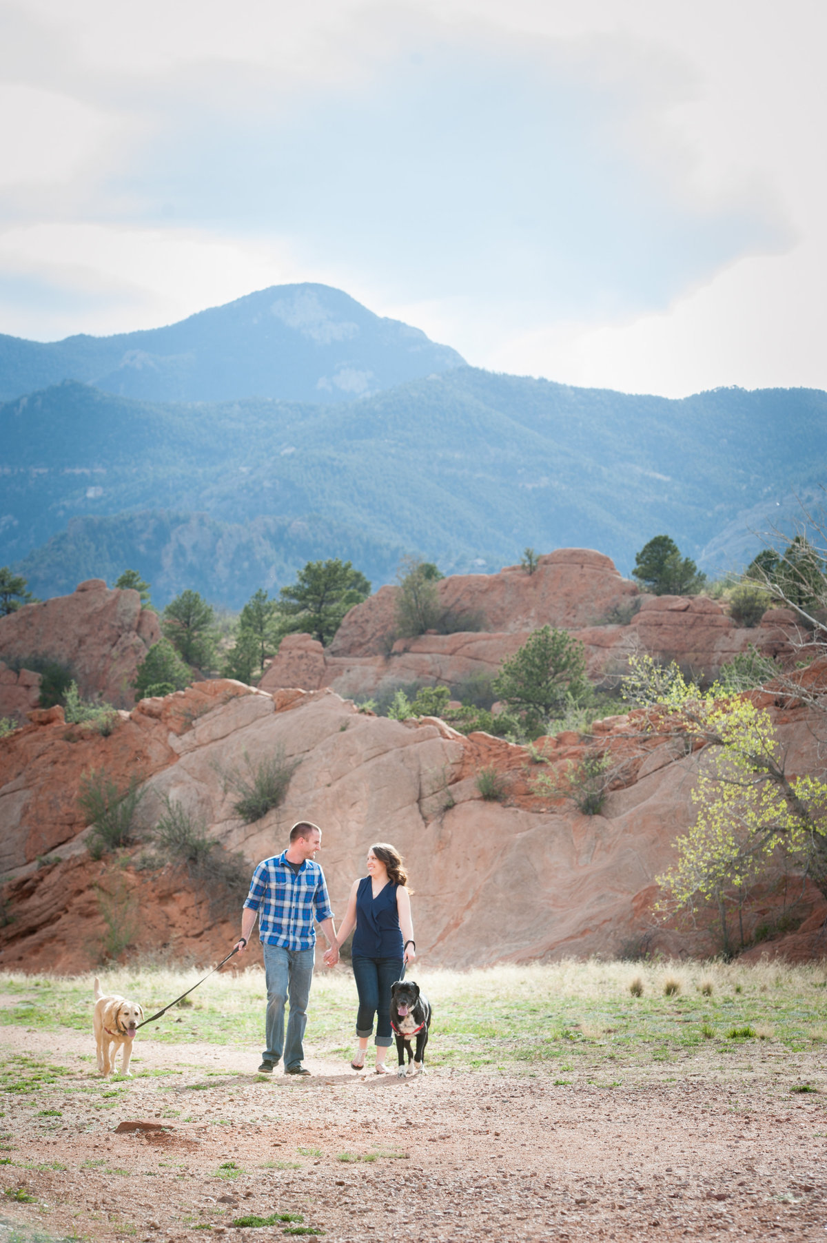 Engaged couple with dogs and Pikes Peak
