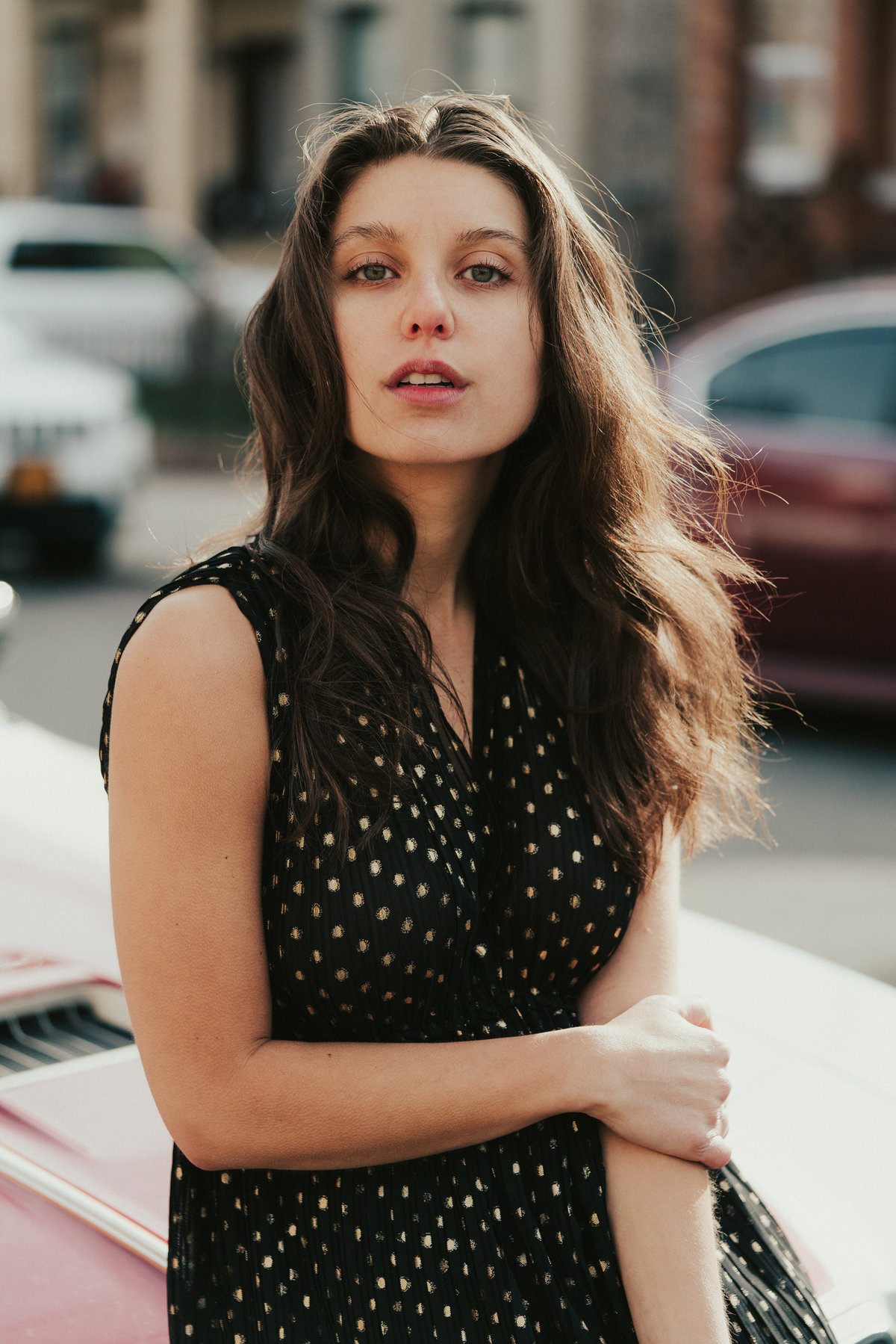 PORTRAIT OF A GIRL IN BROOKLYN WITH AN OLD CAR