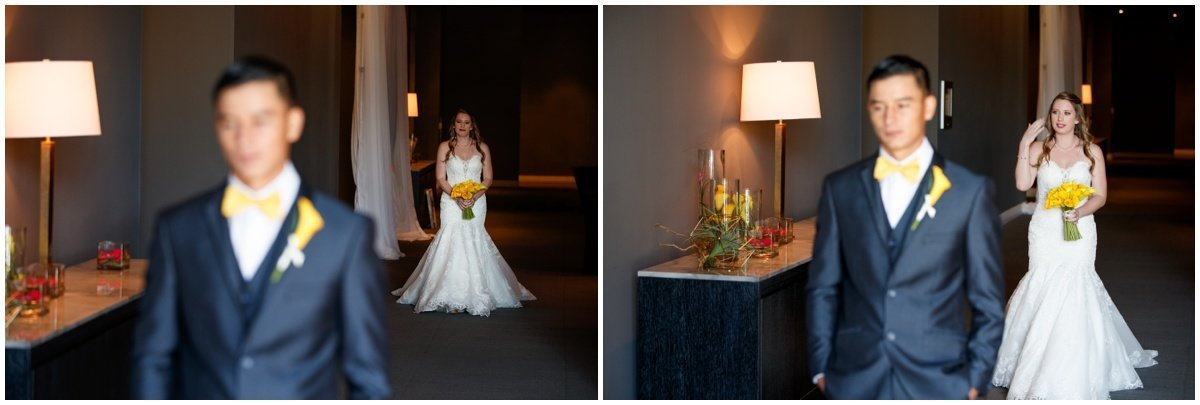 Austin wedding photographer w hotel wedding photographer bride groom first look