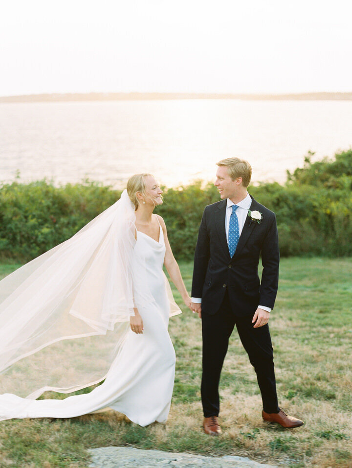 romantic couple pics by the ocean at castle hill inn wedding in Newport in rhode island