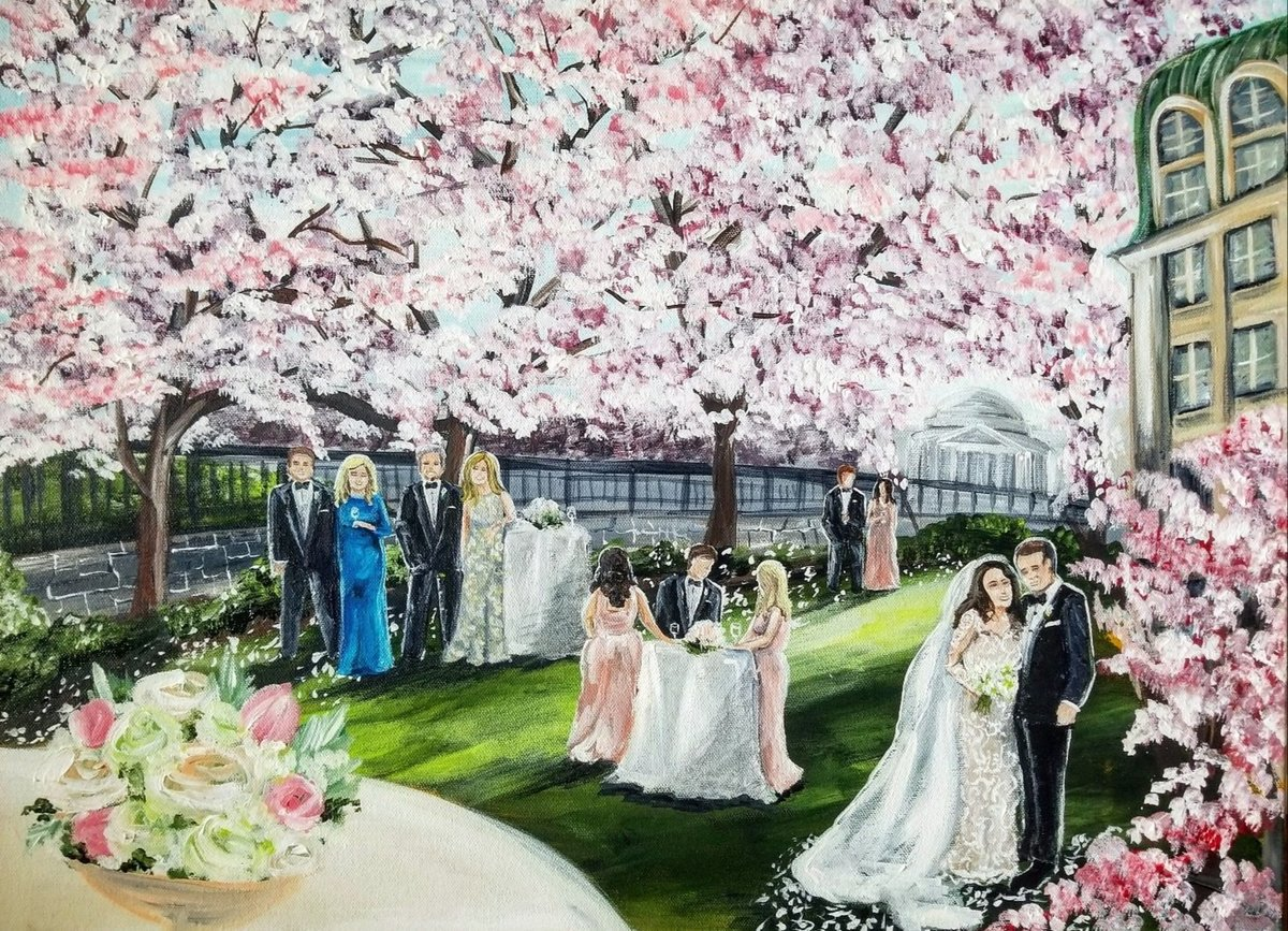 Alex's live wedding painting from her peak cherry blossoms bloom wedding at the Mandarin Oriental in Washington DC