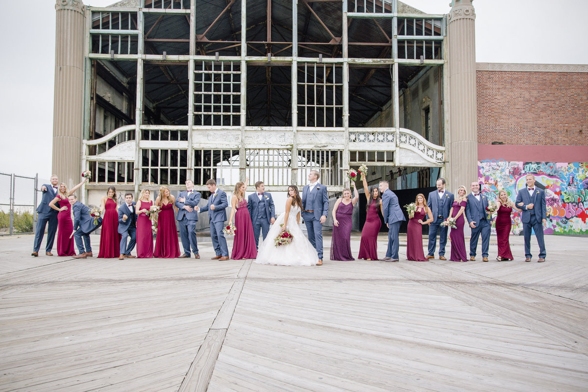 bridal party in front of casino at asbury park wedding