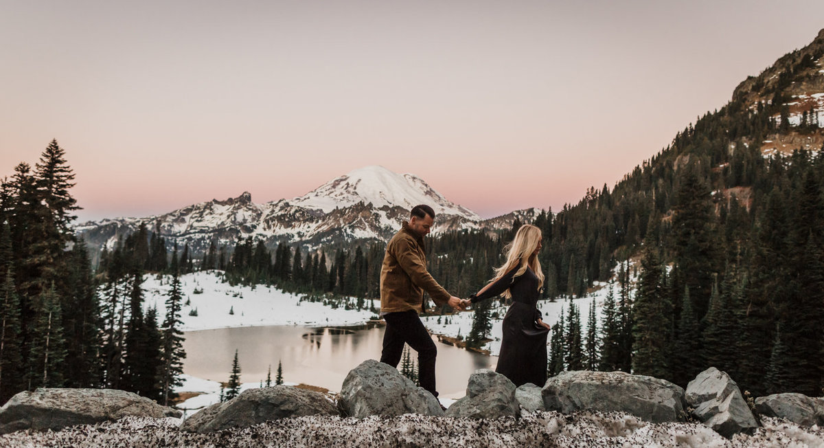 Snowy Mount Rainier Engagement Photos-3